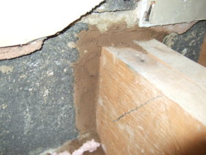 Newly sealed in joist end, this is only the first stage of the air tightness improvement works.
