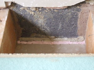 Stage two, seal gap between the ground wall lining board and the blockwork by foaming filling the edge of the ceiling.