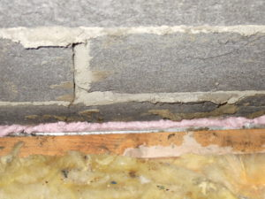 This time we are looking over the top of the edge ceiling joist next to a gable wall. The wall lining was open and a lot of warm air was emanating from the gap that has now been sealed, there was no insulation quilt in this 100mm gap, there is now.