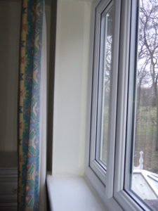 A typical window reveal before we started, note some damp marking to the bottom due to condensation.